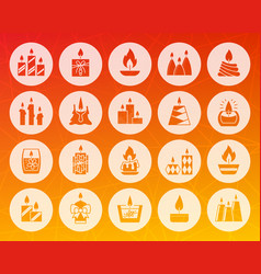 Candle flame shape carved flat icons set vector