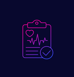 Cardiogram or heart diagnosis report linear icon vector