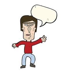 Cartoon angry man waving warning with speech vector