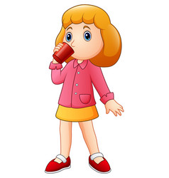 Cartoon girl drinking from a cup vector