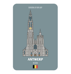Cathedral our lady in antwerp belgium vector