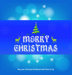 christmas card with blue and snow flakes vector image