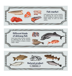 Colored marine food horizontal banners vector