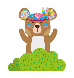 Colorful ethnic bear animal in back of bushes vector