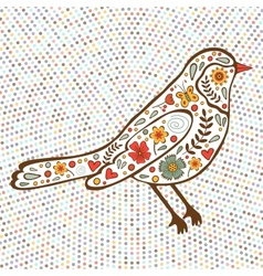Colorful floral bird on dotted background vector image