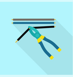 cut electric cable icon flat style vector image