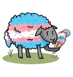 Cute transgender sheep with tasty ice cream vector