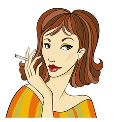 DarkhairedWomanWithCigarette vector