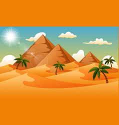 desert background with pyramid and palm trees vector image