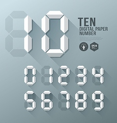 Digital Number paper and shadow design vector