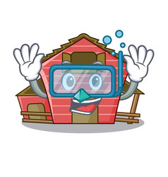 Diving a red barn house character cartoon vector