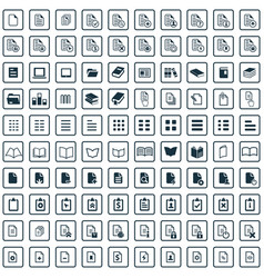 document 100 icons universal set for web and ui vector image