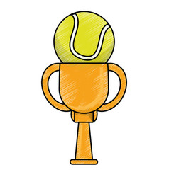 Drawing tennis winner cup prize vector