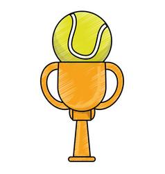 Drawing tennis winner cup prize vector