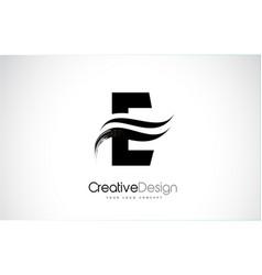 E letter design brush paint stroke vector