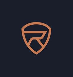 Elegant minimal initial r shield logo design vector