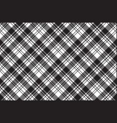 Fabric texture diagonal black white plaid vector
