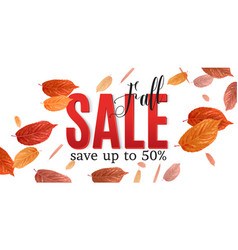 fall sale banner with brigt falling leaves vector image