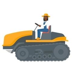 Farmer driving catepillar tractor vector