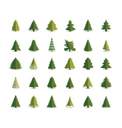 Fir tree icon christmas trees set pine flat vector