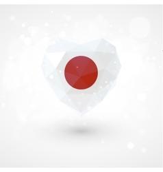Flag of Japan in shape diamond glass heart vector