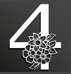 Floral number 4 vector