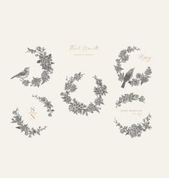 floral wreaths and birds black vector image