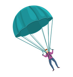Flying parachute icon cartoon style vector