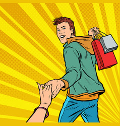 follow me young man leads on sale couple man and vector image