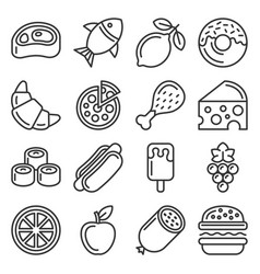 food icons set on white background vector image