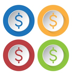 Four round color icons Dollar currency symbol vector image