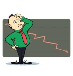 Frightened man in a chart going down Cartoon vector image
