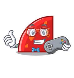 Gamer quadrant mascot cartoon style vector