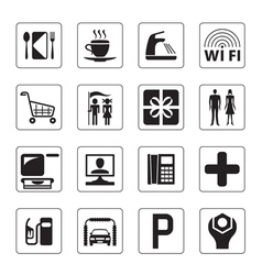 Gas station mall and motel icons set vector image