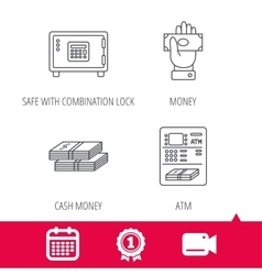 Give money cash money and ATM icons vector image