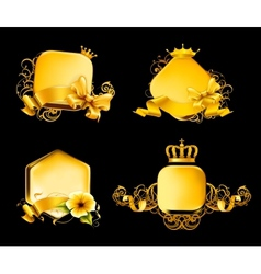 Golden Frame on black set vector image