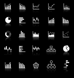 graph icons with reflect on black background vector image