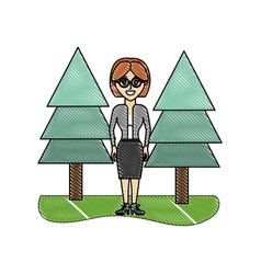 Grated elegant woman wearing glasses and pine vector