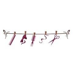 Hairdresser barber tools and accessories on rope vector