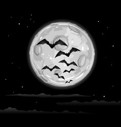 halloween background with flying bats on moon vector image