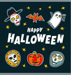 Halloween design elements cartoon pumpkins mummy vector
