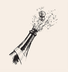 Hand drawn of champagne explosion vector