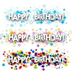 Happy birthday color banners vector