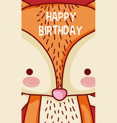 happy birthday to you fox cartoon vector image