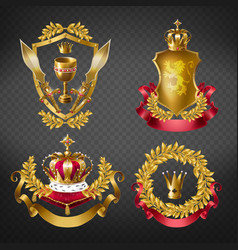 Heraldic royal emblems with golden monarch crowns vector