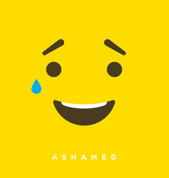 High quality cartoon with ashamed emoticons vector