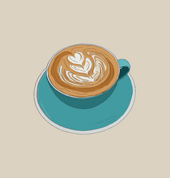 hot cappucino coffee with latte art sketch vector image
