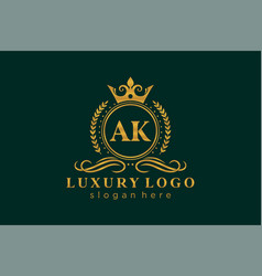 Initial ak letter royal luxury logo template vector