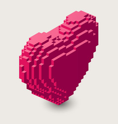 isometric heart 3d pixel icon vector image