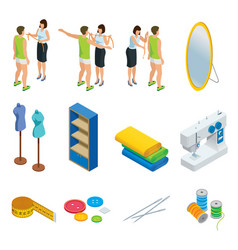 isometric tailoring elements set vector image